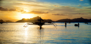 Beautiful Sunset in El Nido in the Palawan Island in the Philippines.