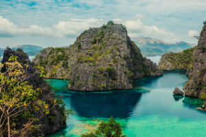 View of the cove at Kayangan lake in Coron, Philippines which is considered the cleanest lake in Asia