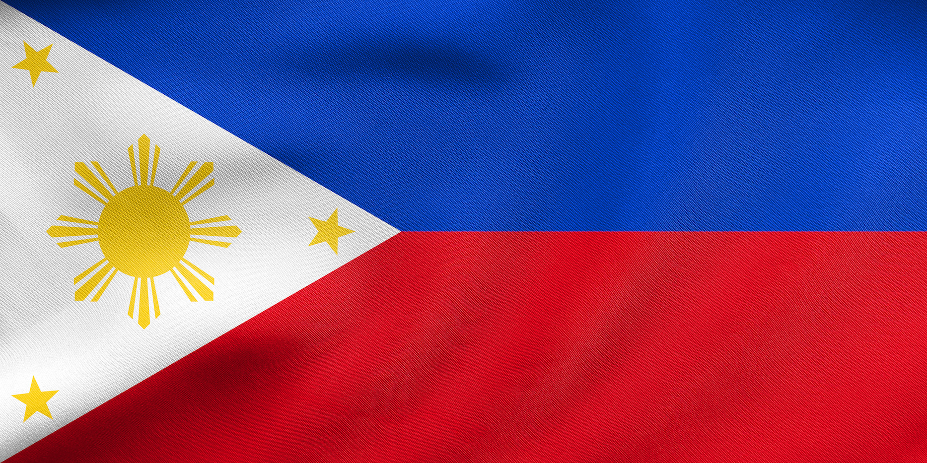 Philippine national official flag. Patriotic symbol, banner, element, background. Correct size, colors. Flag of the Philippines waving in the wind, real detailed fabric texture. 3D illustration